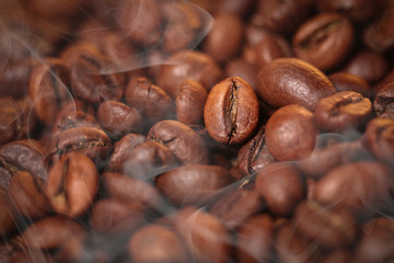 Macro photo of coffee beans, low depth of focus