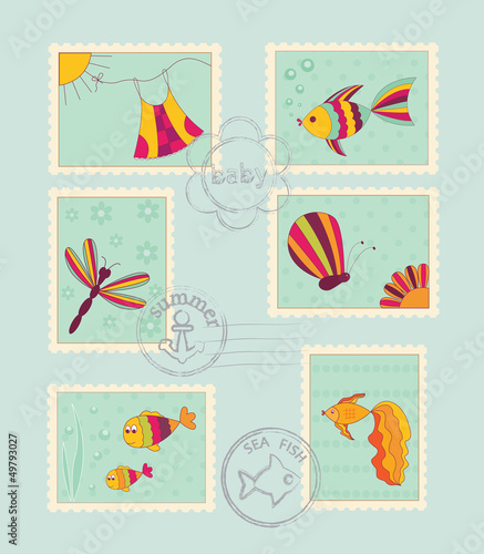 Set of baby post stamps