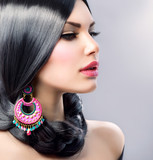 Fototapety Beauty Woman With Long Black Hair. Hairstyle