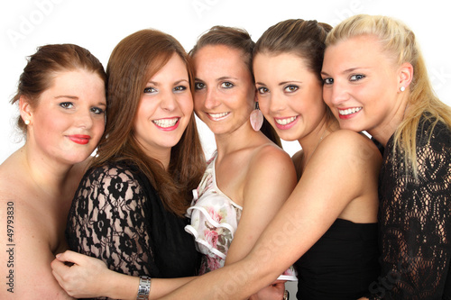 fünf junge Damen