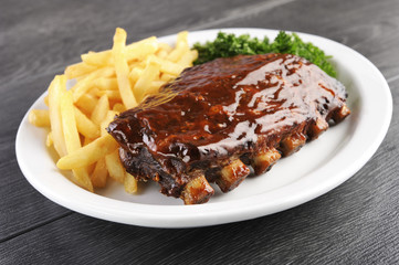 Grilled juicy barbecue pork ribs