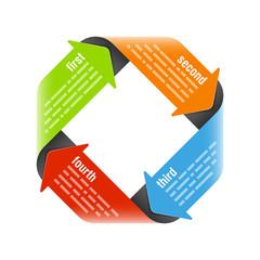 Four steps process arrows - design element