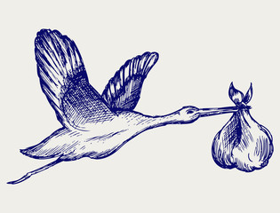 Stork and baby. Doodle style