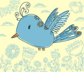 Doodle Blue Bird Vector Illustration