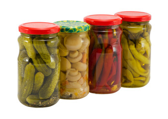 mushroom peppers cucumbers canned glass jar pot