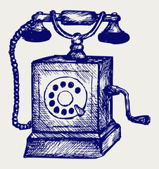 Old telephone. Doodle style
