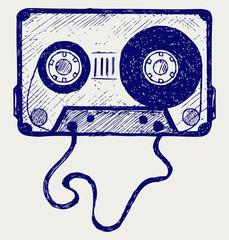 Audio cassette tape. Doodle style