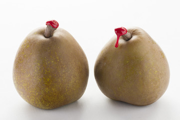 Green pears with red sealing wax