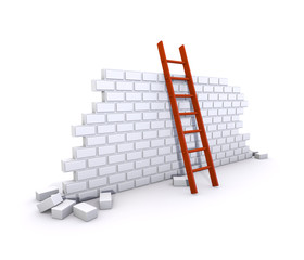 3D Brick Wall With A Red Ladder