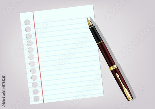 white sheet and a pen on a light background