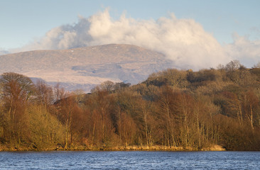 Lake in north wales with view of Snowdonia National Park