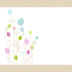 Eggflowers Card Pattern Purple/Blue/Green Dots Border