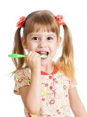 cute kid girl brushing teeth isolated on white