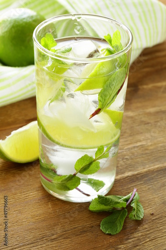 refreshing drink with lime and mint - Mojito