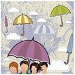A group of people with umbrella in the rain background. Vector