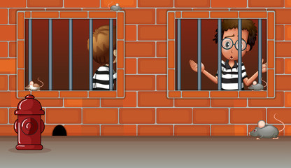 Two boys inside the jail