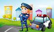 A smiling policeman at the road