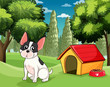 A dog near a doghouse with a dog food