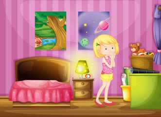 A girl wishing inside her room