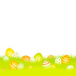 Easter Background Meadow Retro Easter Eggs Yellow