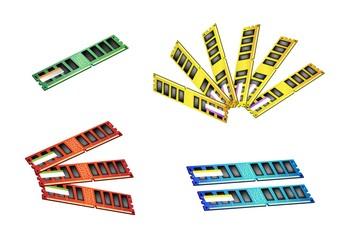 Colorful Illustration Set of Computer RAM Icon