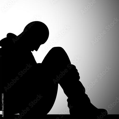 A solidão - ilustração a preto e branco