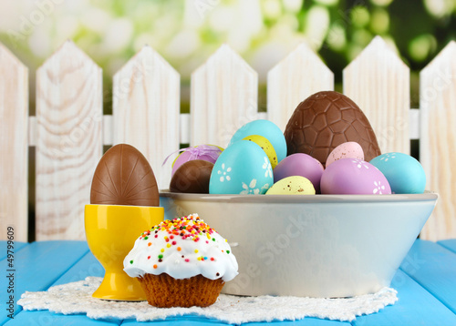 Composition of Easter and chocolate eggs