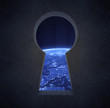 Night view of Europe through a keyhole