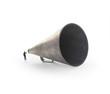 Man speaking through a vintage megaphone