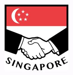 Singapore flag and business handshake, vector illustration