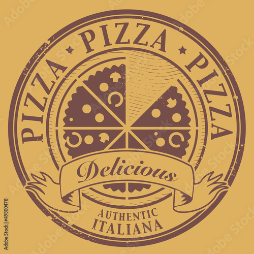 Grunge stamp with text Pizza - Delicious written inside, vector