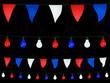 Guirlandes et fanions en bleu, blanc, rouge