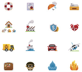 Vector insurance icon set