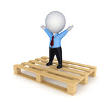 Happy 3d small person on pallet. poster