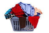 Laundry Basket Of Clothes Isolated On White