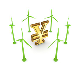 Windmills around yen symbol.
