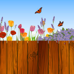 Vector Illustration of a Nature Background with Flowers