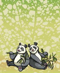 Two cartoon panda and bamboo leaves