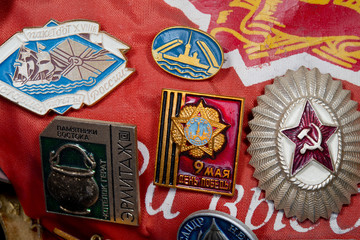 Vintage russian military pin collection