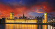 Sunset Colors over Big Ben and House of Parliament - London