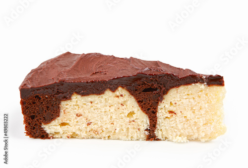 chocolate and coconut cake slice isolated on white