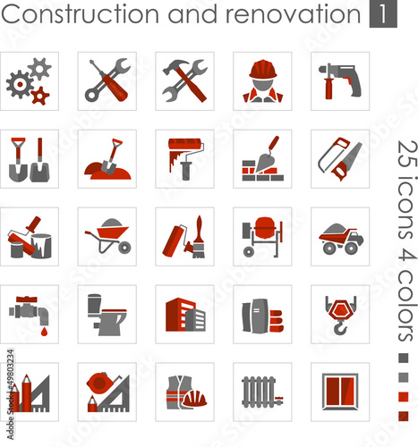 Constraction and renovation icons 1 (Red)