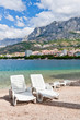 Beach chairs, Makarska, Croatia