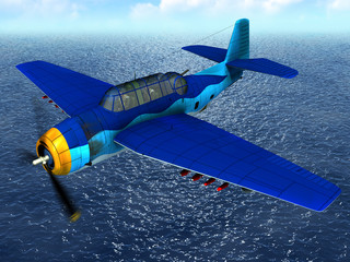 Torpedo bomber fly over ocean