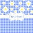 Cute blue card invitation with chamomile