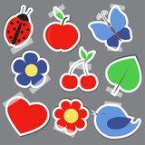 Set og elements for scrapbooking bird flower heart