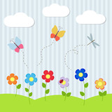Background with flowers and flying dragonflies