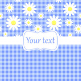 Cute blue card invitation with chamomile