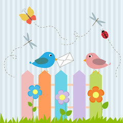Birds on fence with letter