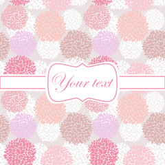 Pink card invitation with pion flowers